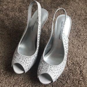 Lulu Townsend Silver Platform Heels